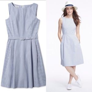 womens blue seersucker dress
